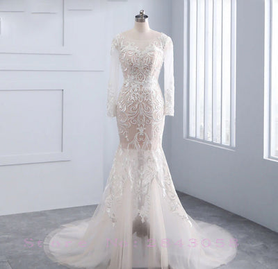 CW212 :Real Photo 2in1 full sleeve Wedding Dress with Detachable Train