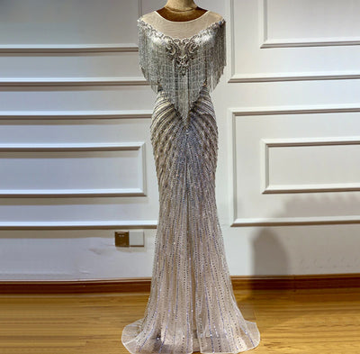 Luxurious Silver Sleeveless crystals Beaded Tassel Evening Gowns