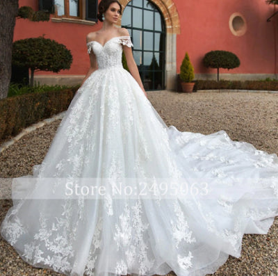 High quality boat neck A-Line Bridal gown with royal train
