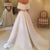 CW21 Simple Off the shoulder  Satin Bridal Gowns