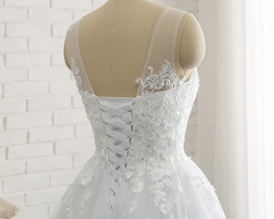 CW24 Plus Size Wedding Dress with detachable train