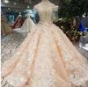 CG131 High neck 3d flower beaded Champagne Wedding Gown