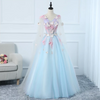 CG91 Light Blue 3D Butterfly Appliques Lace Ball Gown