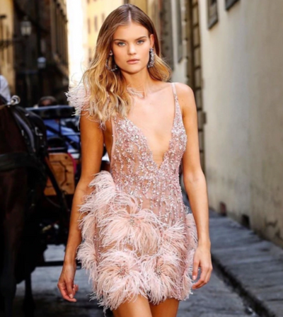PP295 Pink feather Cocktail dress