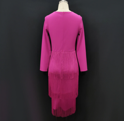 MX237 Rose Red Tassel Club Dress
