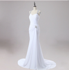 CW53 Real Photo halter sleeves beaded Beach Bridal Gowns