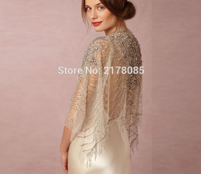 WJ36 Couture Crystals Beaded Bridal Bolera cape