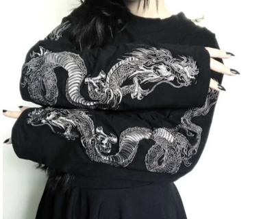 TJ69 Gothic Punk Dragon Embroidery shirts