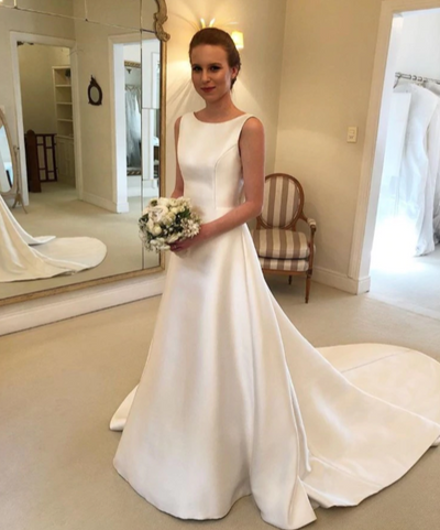 CW83 Simple A-line Wedding Dress with chapel train