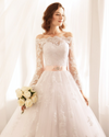 CW97 Off the shoulder Wedding gown with pink belt