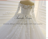 HW03 Luxury Off Shoulder Lace Applique Shiny Wedding Dress