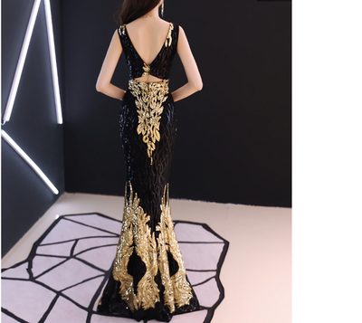 PP116 V Neck Embroidery Mermaid Evening Dresses (3 Colors)