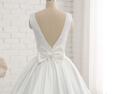 CW57 Real Photo minimalist Ivory satin wedding gown