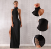 MX244 Classy halter neck black Party Dress