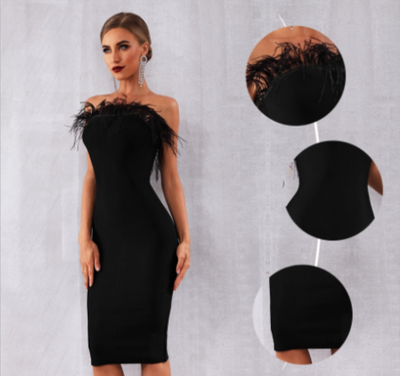 MX245 Classy strapless feather black Cocktail Dress