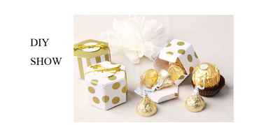 10pcs Stripe/Dots Golden Chocolate Box for  Wedding Party