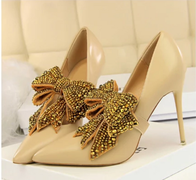 BS23 Rhinestone Big Bow Bridal Shoes (4 Colors)