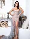 PP204 Sexy silver strapless cut out glitter Club Dress