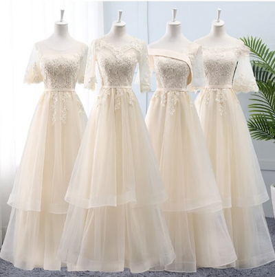 BH171 : 4 styles Champagne Long Bridesmaid Dresses