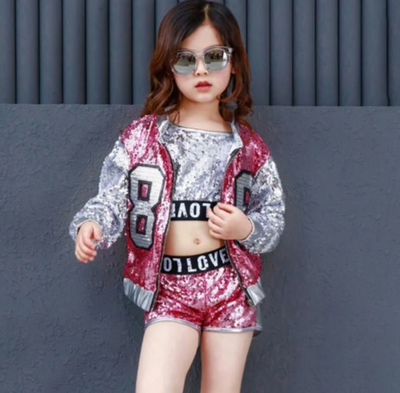 FG194 Kid Dance Hip Hop Sequins costume (Vest+Shorts+Coat)