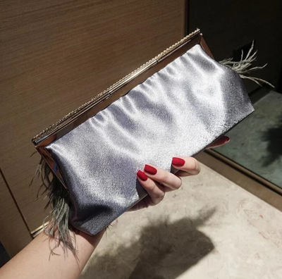 CB111 Dark green Ostrich Feathers  Clutch bags