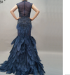 Luxurious See Through High Feather Navy Blue Evening Gowns