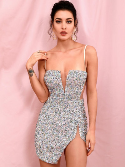 PP307 Sexy Silver Glitter Cocktail Dress