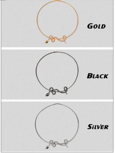 BJ94 Fashion Snake Choker Necklace (Black/Silver/Gold)
