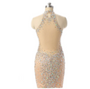 Beaded Crystal Backless Prom Dresses