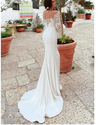 CW94 Lace long sleeves scoop neckline mermaid wedding dress
