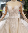 Handmade long sleeve mermaid wedding dress with detachable train