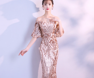 PP136 Flare sleeve sequins boat neck Evening Dresses(2 Colors)