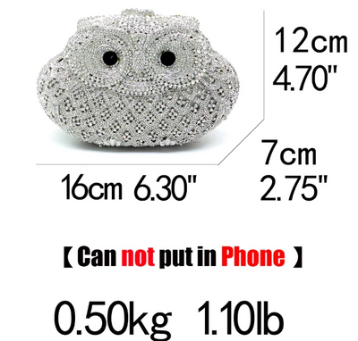 CB99 Full diamonds Owl  shape Minaudiere  Bags (13 Colors)
