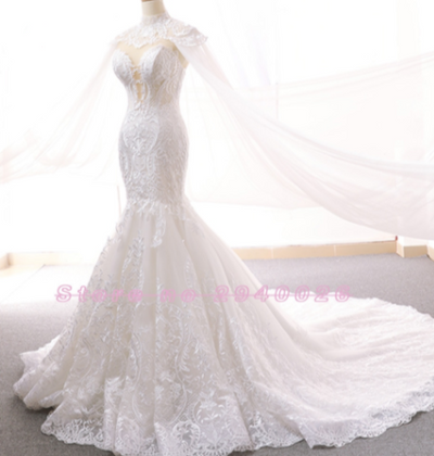 Sweetheart Sleeveless Mermaid Wedding Dress with Shawl