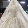 Real Photo: Removabl Puff Sleeve Wedding Dress+Matching Veil