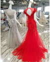Tulle crystals Tassels cap sleeves Evening gown