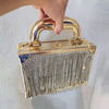 CB221 Diamonds tassel Transparent Box shaped Clutch Bags