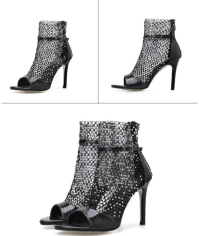 BS120 Mesh Glitter Party Heels ( 3 Colors)