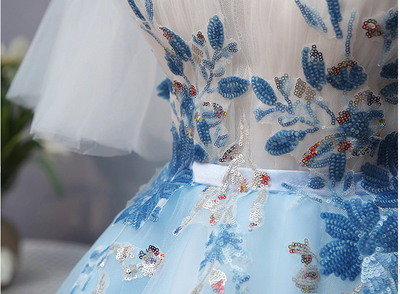 BH118 Plus size Blue Embroidery Floral  Homecoming Dress