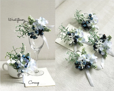 Blue and white Boutonnieres flower for Wedding(7 Styles )