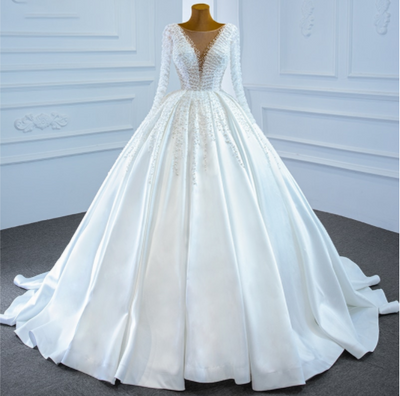 Real Photo deep v-neck satin pearls Wedding Gown
