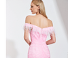 Plus size Pink off the shoulder feathers Evening Dress