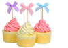 Wedding&Party Table supplies:Ribbon Bow Cupcake Topper(6 Colors)