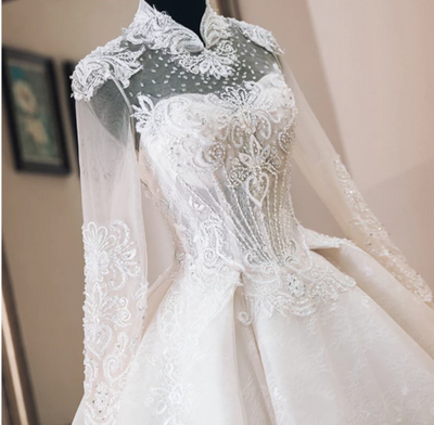 Luxury high neck beading long sleeve Wedding Dresses with long tail