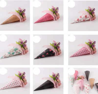Wedding Supplies : Ice Cream Cone Kraft paper for Flower Holder