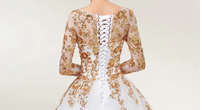 CG46 Plus size Gold long sleeve Lace Wedding Dresses with court train