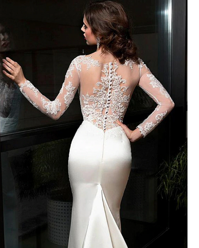 CW126 Sexy see-thought back Satin mermaid Wedding dress