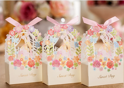 50Pcs/Lot  Bride & Groom paper candy boxes for Wedding & Party