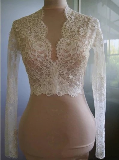 WJ20 Lace long sleeves Bridal Wraps