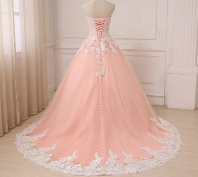 Plus size coral tulle Wedding Gown